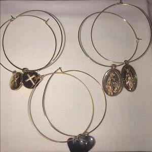 Women's gold hoop charm earrings cross hearts